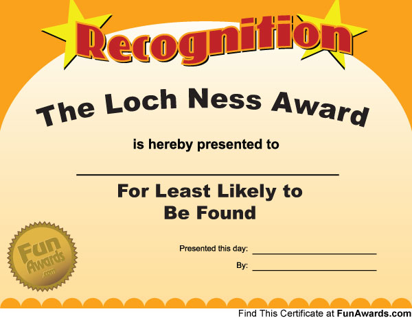 Office Awards Templates  free funny award certificates templates