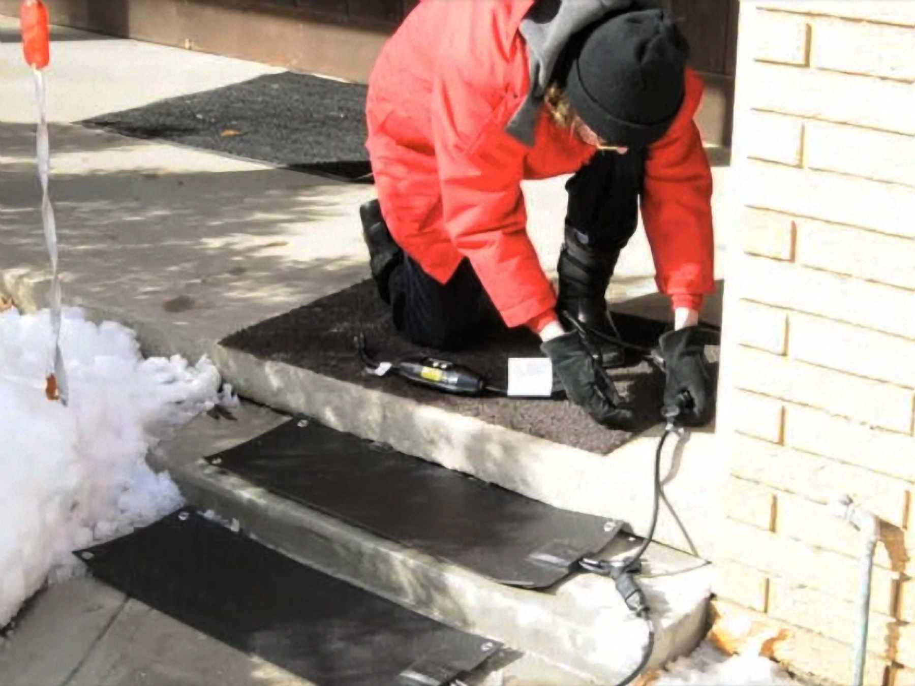 New Residential Heated Stair Tread Mats Melt Snow And Ice | Outdoor Stair Treads For Winter