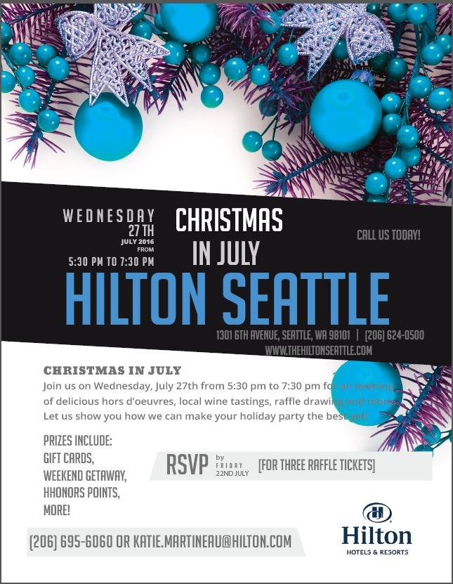 Hilton Seattle Invites All To Christmas In July Party To