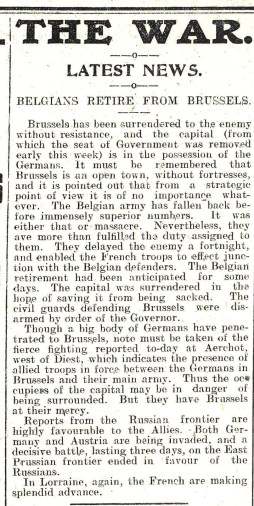 1914 WW1 week 4.1 Belgians retire from Brussels