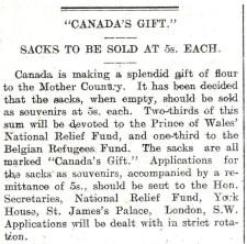 1914 WW1 week 10.4 Canada's gift