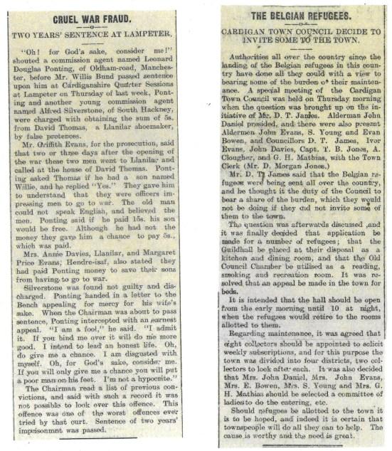 1914 WW1 week 14 fraud & refugees