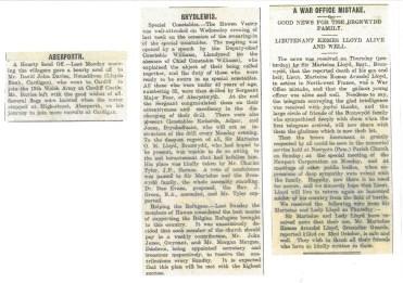 1914 WW1 week 15 Aberporth Rhydlewis Mistake