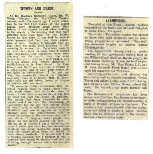 1914 WW1 week 16 and 17 Women and Ll'dysul