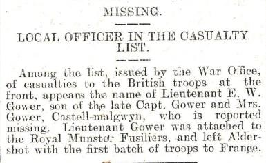 1914 WW1 week 7.3 Missing