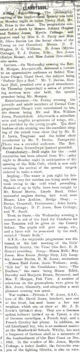 1915 WW1 weeks 33 and 34 Llandysul war trophies