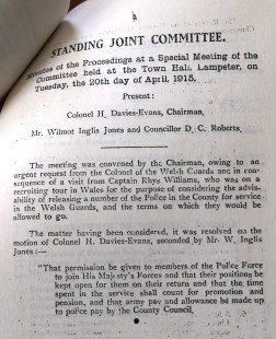 County of Cardigan Standing Joint Committee April 20th 1915