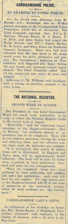 1915 week 52 CTA 23-7-15 Cardiganhshire Police