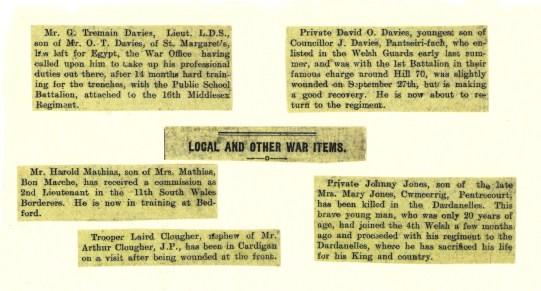 1915 Week 66 CTA 29-10-15 War items