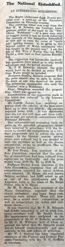 1916 week 82 CN 25-2-16 National Eisteddfod