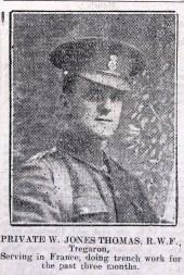 1916 week 82 CN 25-2-16 Private W. Jones Thomas Tregaron