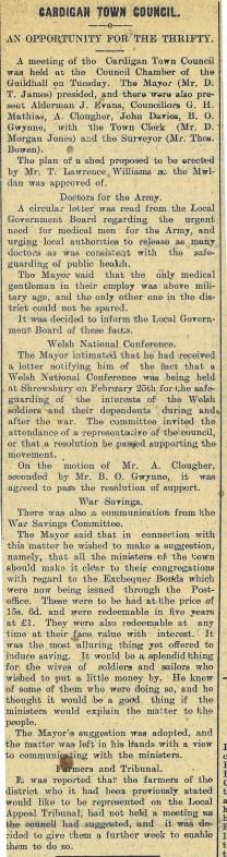 1916 week 82 CTA 25-2-16 Cardigan Town Council