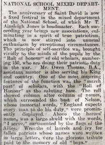 1916 week 83 CN 2-2-16 National School St David's Day