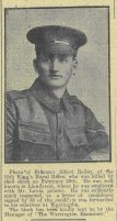 1916 week 86 CTA 24-3-16 Rifleman Albert Bailey