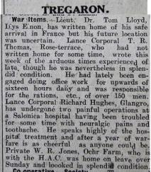 1916 week 87 CN 31-3-16 Tregaron war items