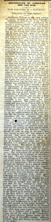 1916 week 95 CTA 26-5-16 Archdeacon of Cardigan