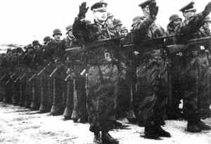 Troops of the ROA 1st Division parade at Munsingen training camp