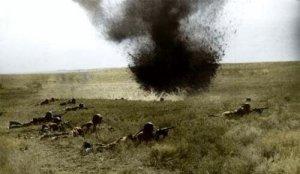 Soviet infantry under fire.