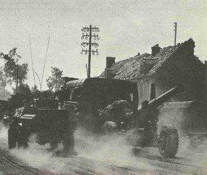 Canadian artillery at Falaise.