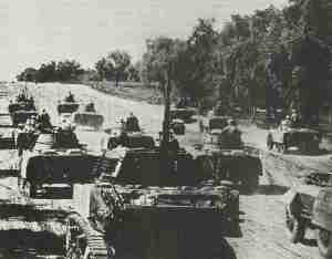 Advance of the recon unit of a French Armored Division