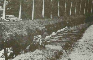 French infantry guards a canal bank