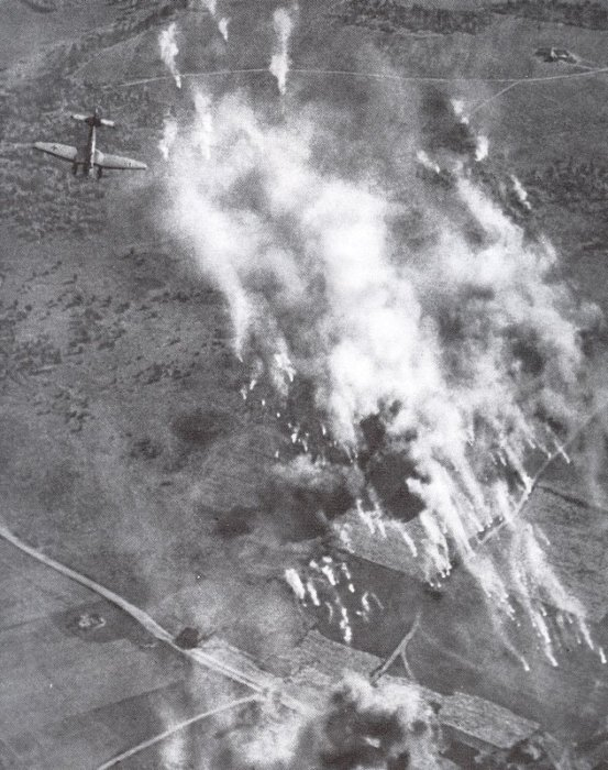Stuka attacks field fortifications of the outer defence with board weapons