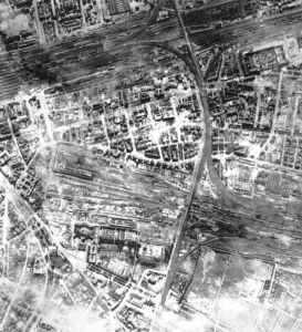 aftermath picture from a Lancaster raid on Frankfurt (railway aerial)