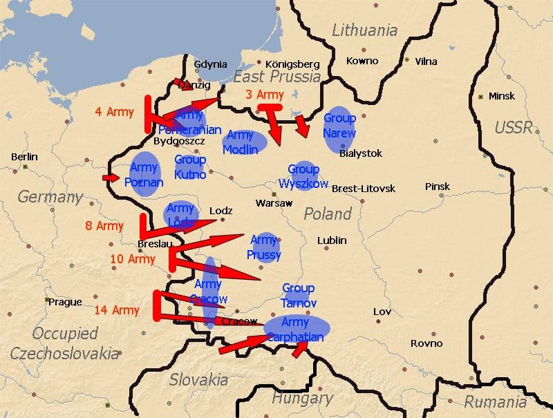Location of Polish and German Armies