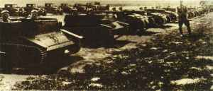 Polish TK tankettes line-up for manoeuvre