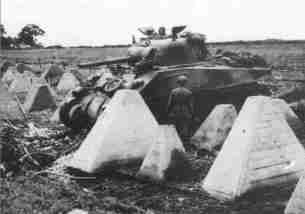 Sherman tank pass Siegfried Line at Aachen