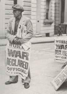 A London newspaper seller has the grim news of September 3, 1939.