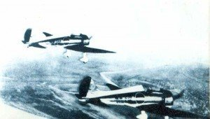 Two Mitsubishi A5M Claude over China. These fighters turned the tables on the Chinese and achieved complete air supremacy.