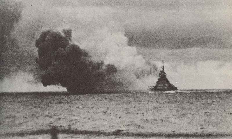 Bismarck fires on the retreating Prince of Wales