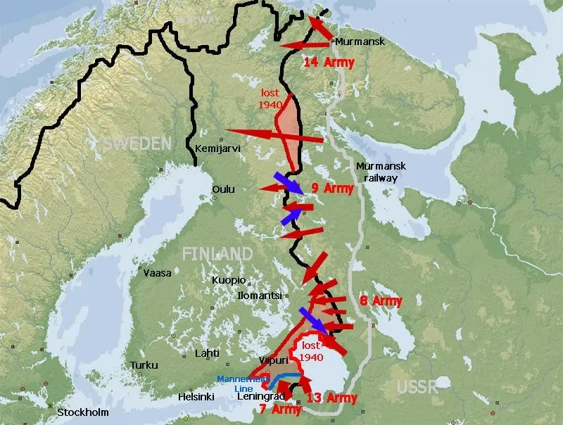 map of Winter War in Finland 1939-40