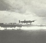 Lancaster lands on 'Fido' equipped airfield.