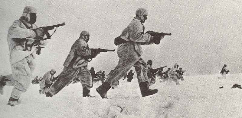 Russian infantry counter-attacking Moscow