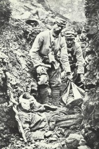 Dead and wounded in a trench
