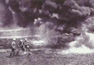 German soldiers exercise with flame-throwers