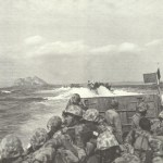landing crafts approaching Iwo Jima