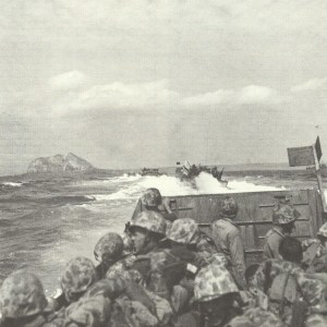 landing crafts approaching Iwo Jima