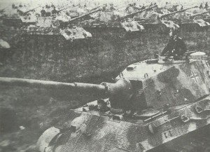 line-up of King Tiger tanks