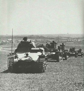 A Panzer I leads Panzer 38(t)