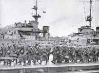 German soldiers embarking ships for the invasion of Norway