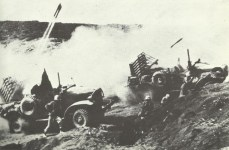 Rocket barrage on Japanese positions