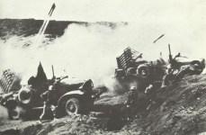 Rocket barrage on Japanese positions