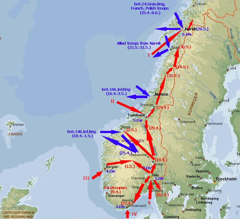 Map about the German invasion of Norway