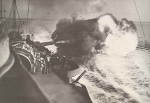Warspite is bombarding a land target