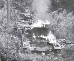 Matilda II tanks of the BEF are burning
