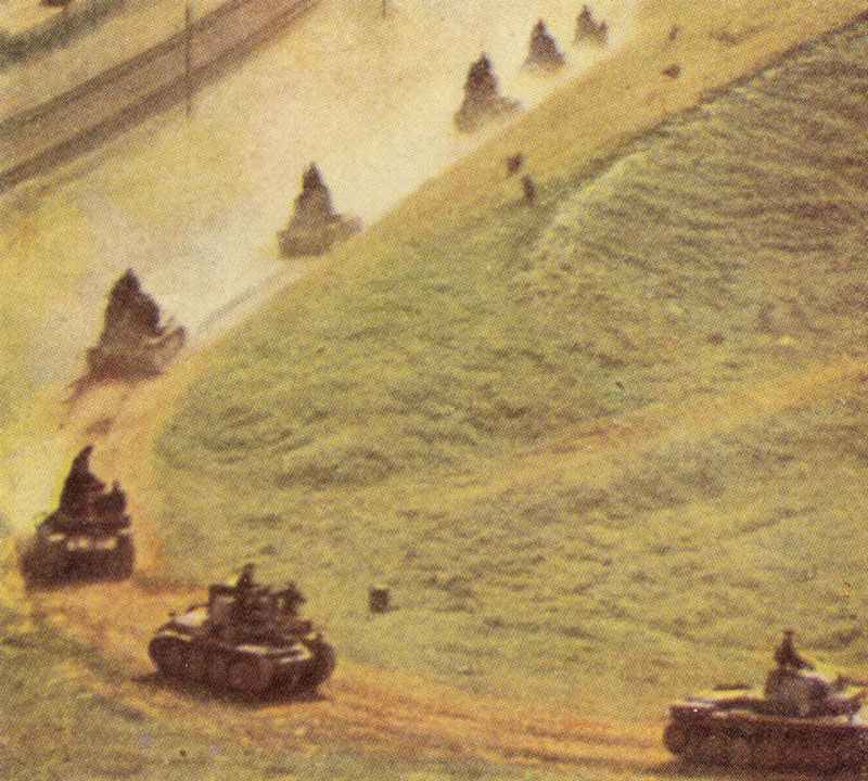 German tank unit attacking Russian field fortification