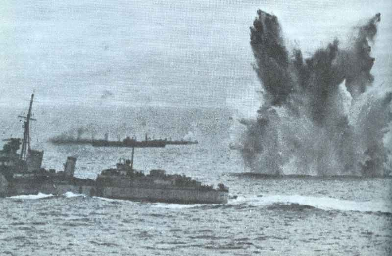 Narrow missed hit on a Allied destroyer